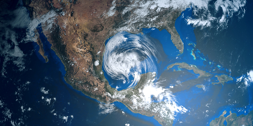 image of a hurricane over North America